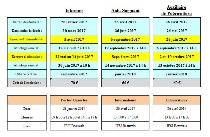 Calendrier concours 2017